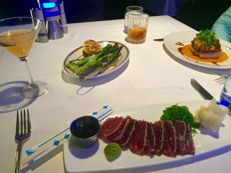 Cocktails, seared ahi, grilled asparagus, and swordfish!